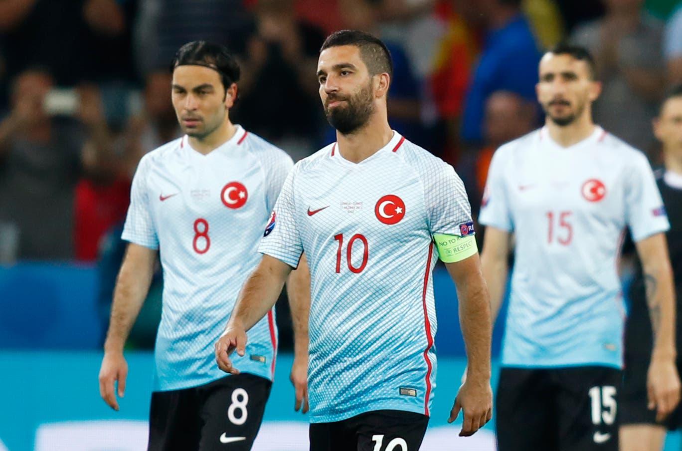 Turkey's Arda Turan reacts after Spain's Alvaro Morata scored a goal. (Reuters)