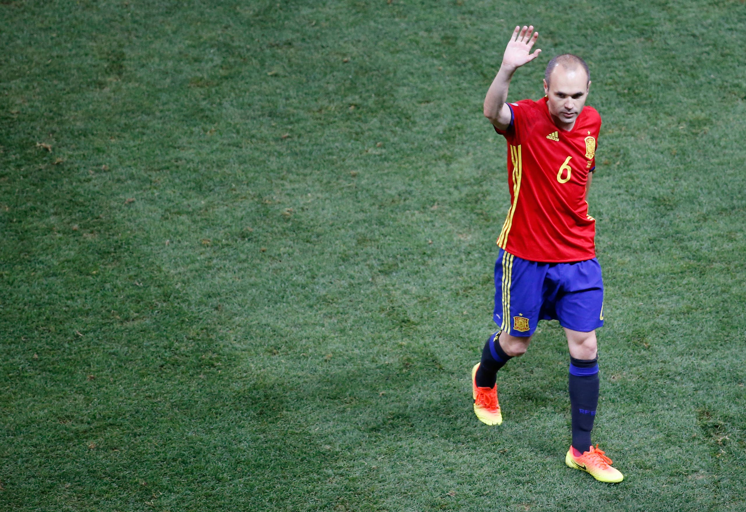 Spain v Turkey - EURO 2016 - Group D - Stade de Nice, Nice, France - 17/6/16 Spain's Andres Iniesta waves to fans after the game. (Reuters)