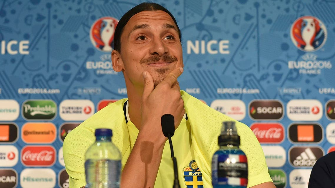 Sweden's Zlatan Ibrahimovic faces the media at a news conference.  REUTERS