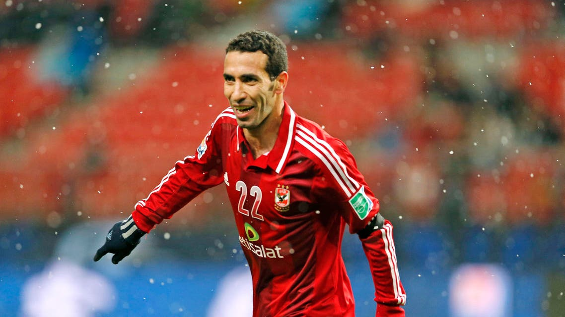 Al-Ahly SC's Mohamed Aboutrika celebrates after scoring a goal against Sanfrecce Hiroshima during their quarterfinal at the FIFA Club World Cup soccer tournament in Toyota, Japan, Sunday, Dec. 9, 2012. (AP Photo/Shuji Kajiyama)