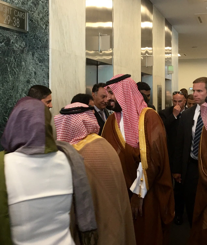 Prince Mohammed bin Salman greeting members of Saudi UN delegation prior to his departure (pictures by Faisal J. Abbas/Al Arabiya English)