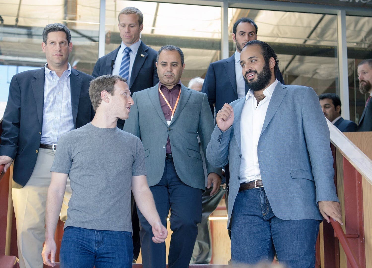 Saudi Deputy Crown Prince Mohammed bin Salman talks with Facebook founder Mark Zuckerberg (Exclusive images by Bandar al-Galoud)