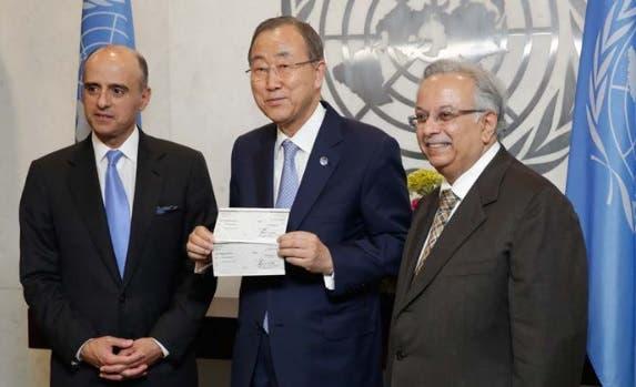 Adel al-Jubeir (left), former Ambassador of Saudi Arabia to the United States; Ban Ki-moon (center),  Secretary-General of the United Nations; and Abdallah Al-Mouallimi (right), Permanent Representative of  Saudi Arabia to the UN and Chair of the Advisory Board of the UNCCT. (UN Photo/Evan Schneider)