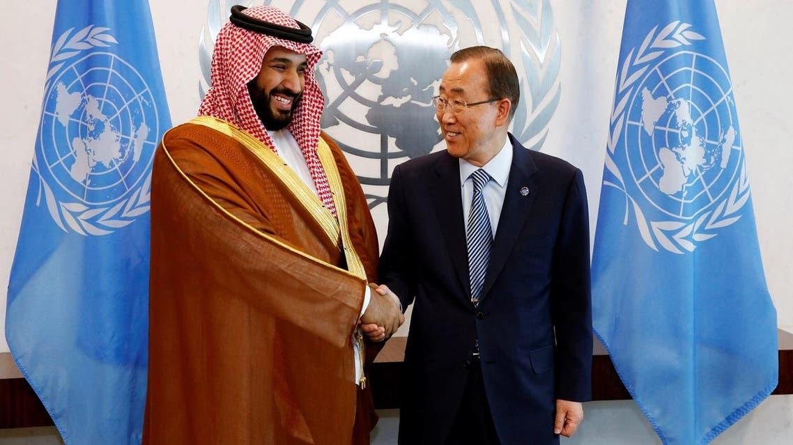 Saudi Arabia's Deputy Crown Prince Mohammed bin Salman (L) greets UN Secretary-General Ban Ki-moon at the UN headquarters in New York, US, June 22, 2016 (Photo: Reuters)