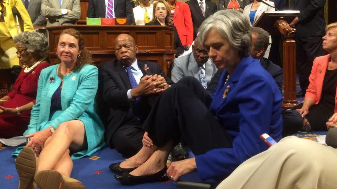 A photo shot and tweeted from the floor of the House by U.S. Rep. Clark shows Democratic House members staging a sit-in over gun legislation in Washington. (Reuters)