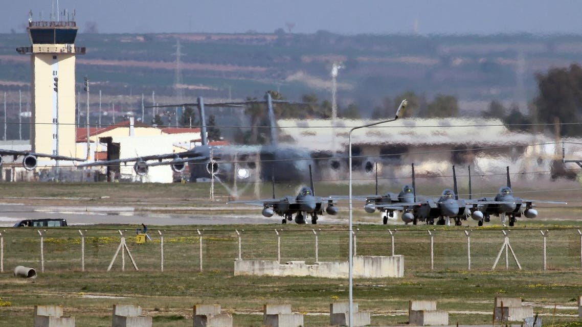 Saudi jet fighters parked at Incirlik Air Base near Adana, southern Turkey, Friday, Feb. 26, 2016. Ibrahim Kalin, a top aide to Turkey's President Recep Tayyip Erdogan said Saudi military aircraft that will join the fight against Islamic State militia in Syria have begun arriving at a southern Turkish air base. The Saudi deployment comes as a U.S. and Russia-engineered cease-fire is due to take effect at midnight on Friday, but the truce agreement does not cover operations against the IS, designated as a terrorist group by the U.N. Security Council. (AP Photo)