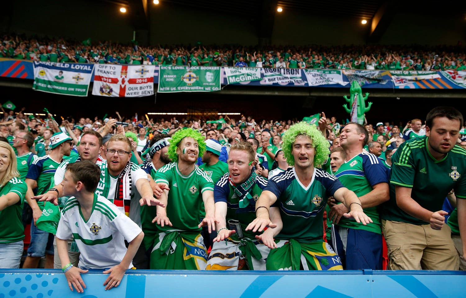 Northern Ireland fans celebrating after the match against Germany. (Reuters)