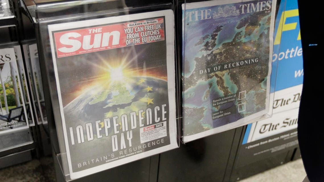 The front pages of the Sun and The Times newspapers reporting on the EU referendum on a news stand in Westminster, London, Thursday, June 23, 2016 (Photo: AP)