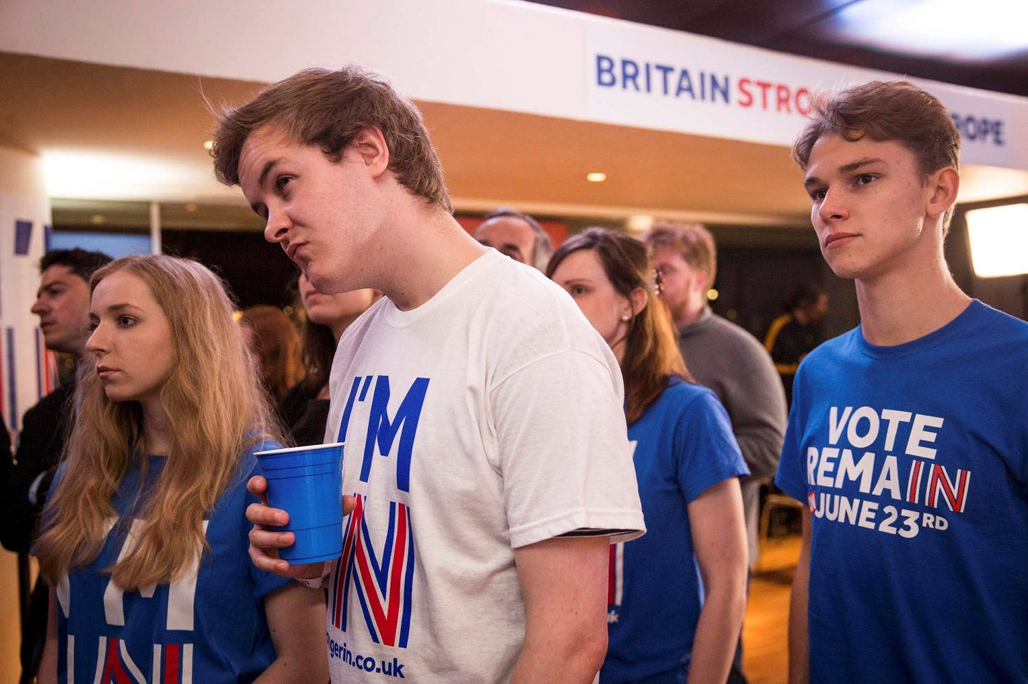 Supporters of the Stronger In Campaign react after heading the result from Orkney in the EU referendum at the Royal Festival Hall, in London. (Reuters)