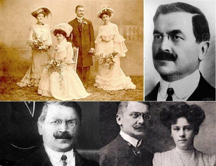 علي كمال في صورتين، وأخريين مع زوجته السويسرية الأصل، إحداهما يوم زفافه، وإلى جانبيه شقيقتاها
