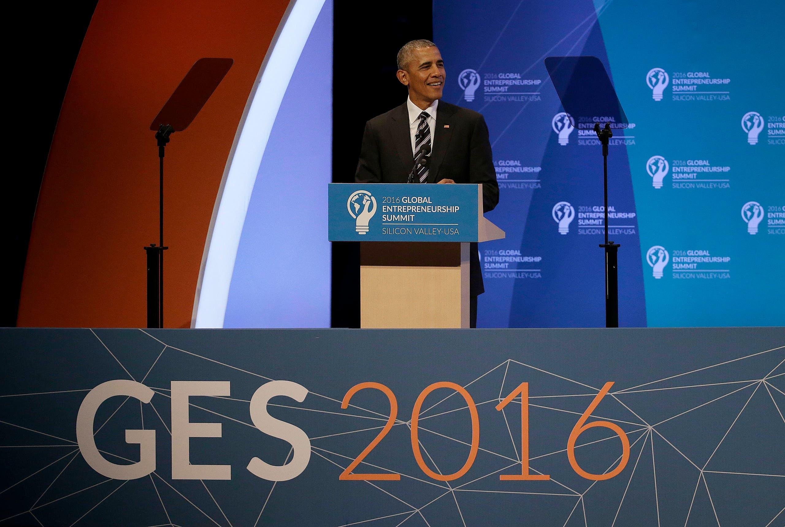 President Barack Obama speaks at the Global Entrepreneurship Summit in Stanford, Calif., Friday, June 24, 2016. (AP)