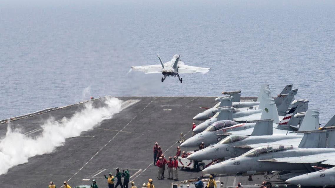 A U.S. Navy F/A-18E Super Hornet fighter jet launches from the flight deck of the aircraft carrier USS Harry S. Truman in the Mediterranean Sea in a photo released by the US Navy June 3, 2016. Reuters