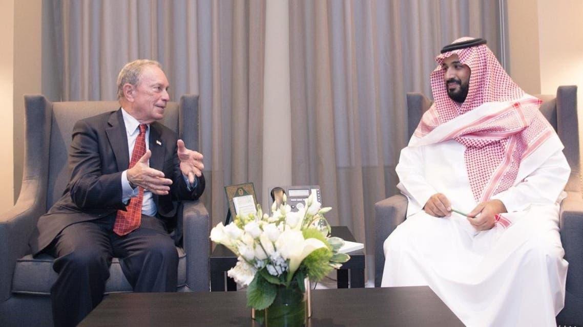 الأمير محمد بن سلمان مع كبير الإداريين التنفيذيين في بلومبيرغ إل جي مايكل بلومبيرغ