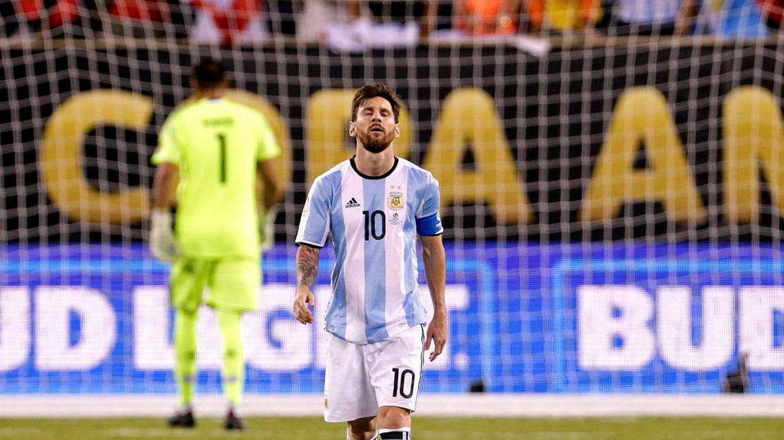 Argentina midfielder Lionel Messi (10) reacts after missing a shot during the shoot out round against Chile in the championship match of the 2016 Copa America Centenario soccer tournament at MetLife Stadium. (USA TODAY Sports)