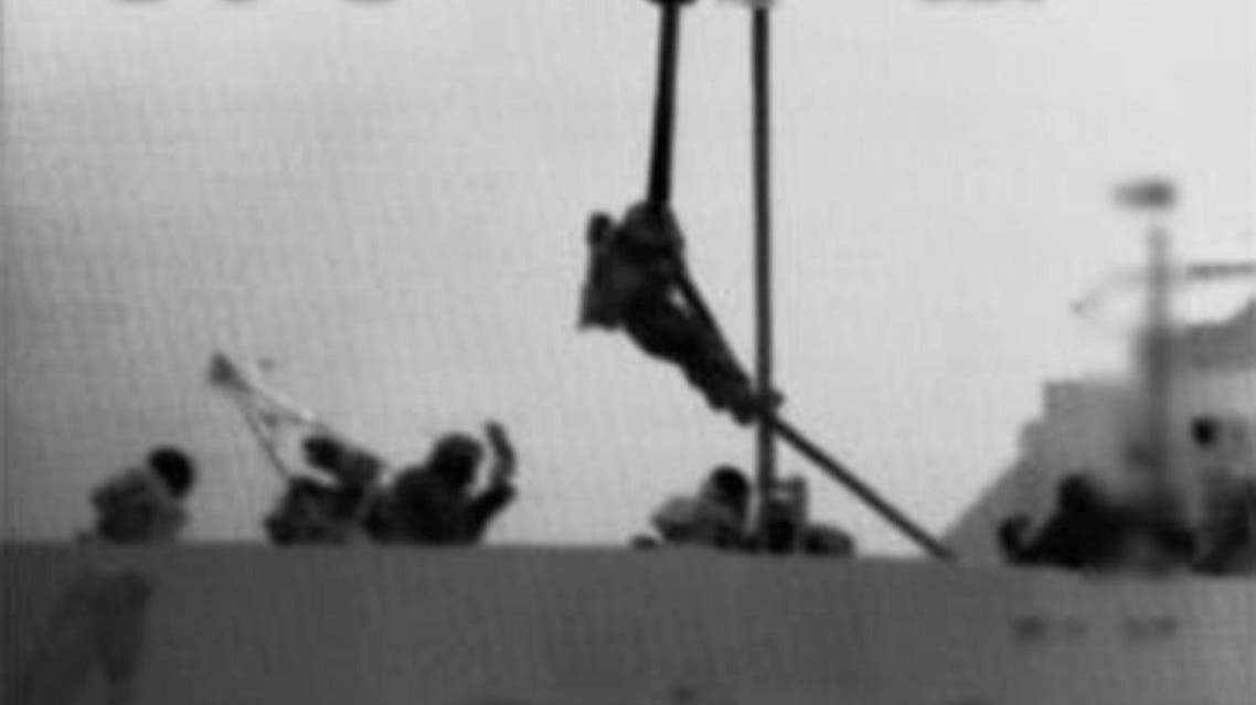 An Israeli marine is dropped from a helicopter onto the Gaza-bound ship Mavi Marmara in this frame grab from video released May 31, 2010 by the Israel Defence Forces (IDF) (File Photo: Reuters)