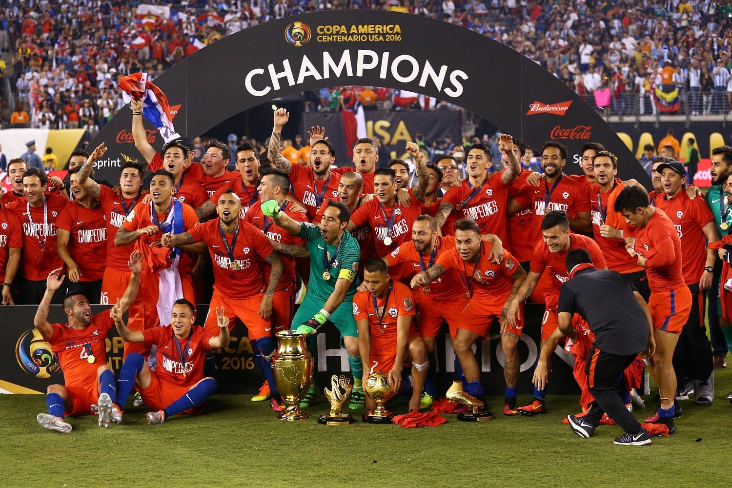 Chile poses for a photo with the championship trophy after winning the championship match of the 2016 Copa America Centenario soccer tournament against Argentina at MetLife Stadium. Chile defeated Argentina 0-0 (4-2). Mandatory Credit: Brad Penner-USA TODAY Sports
