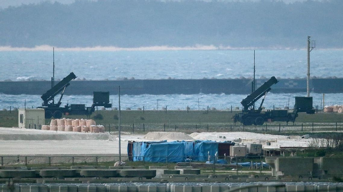 Japanese Self-Defense Force ground-based Patriot Advanced Capability-3 (PAC-3) interceptors are seen in position on the grounds in Ishigaki, Okinawa prefecture on February 7, 2016. North Korea launched a long-range rocket on February 7, 2016 in defiance of warnings from the US and South Korea, Seoul's military said. JAPAN OUT AFP PHOTO / JIJI PRESS  JIJI PRESS / AFP