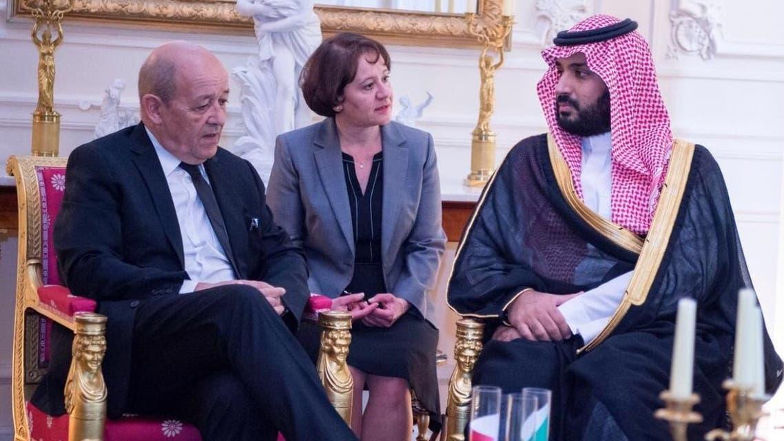 الامير سلمان ووزير الدفاع الفرنسي