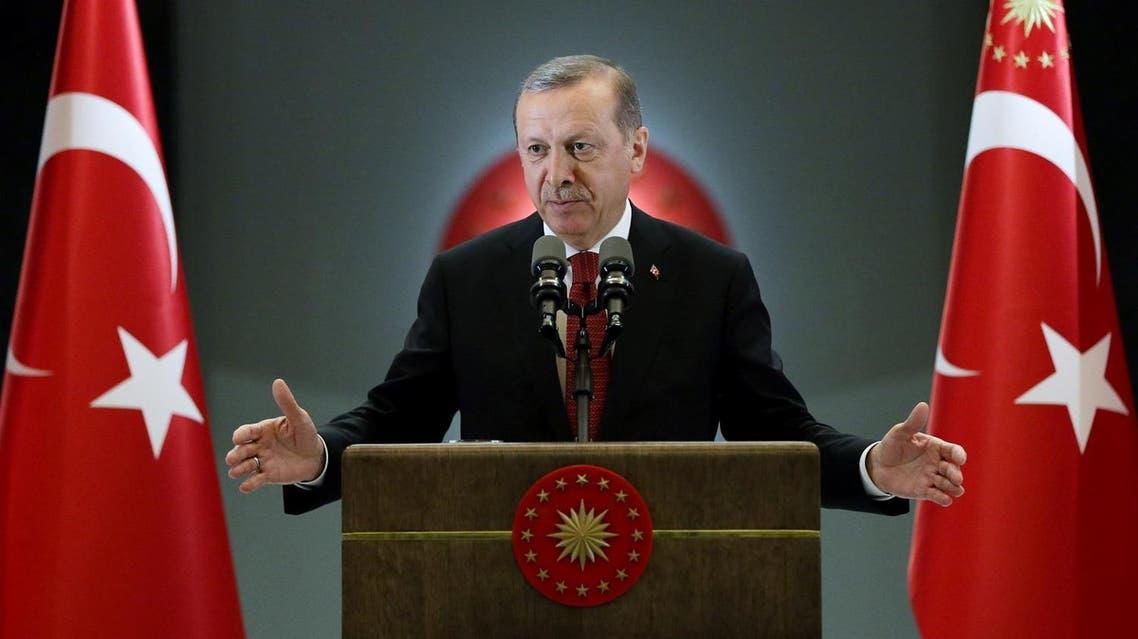 Turkish President Tayyip Erdogan makes a speech during an iftar event in Ankara, Turkey, June 27, 2016. Murat Cetinmuhurdar/Presidential Palace/Handout via REUTERS