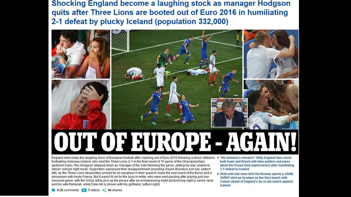 UK press and media burst into a flurry of rants, holding nothing back as most described the 2-1 loss as the worst in the three lions' history. (Screengrab: The Daily Mail)