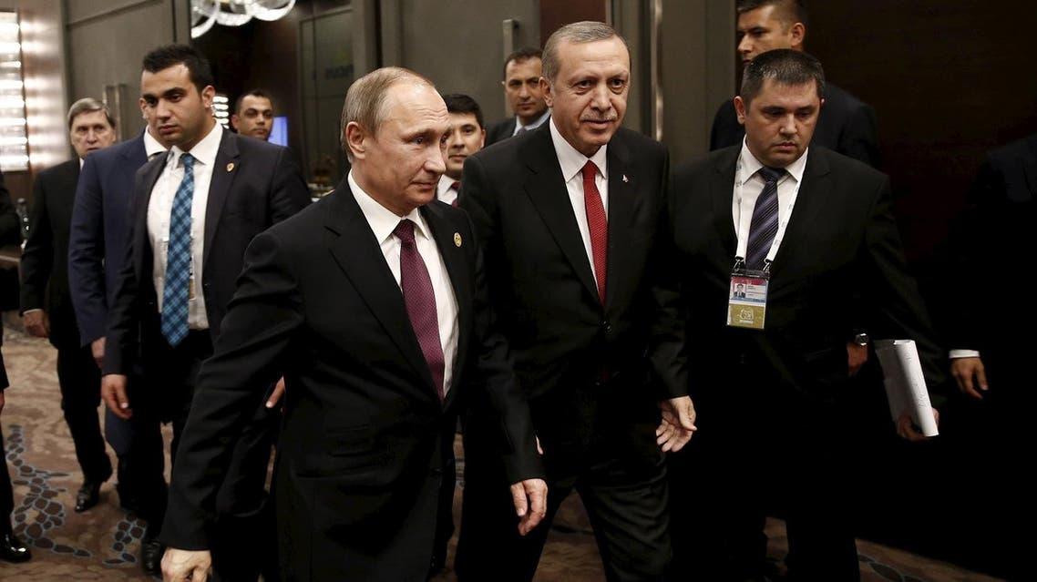 Turkey's President Tayyip Erdogan (2nd R) walks with his Russian counterpart Vladimir Putin prior to their meeting at the Group of 20 (G20) leaders summit in the Mediterranean resort city of Antalya, Turkey, November 16, 2015. REUTERS