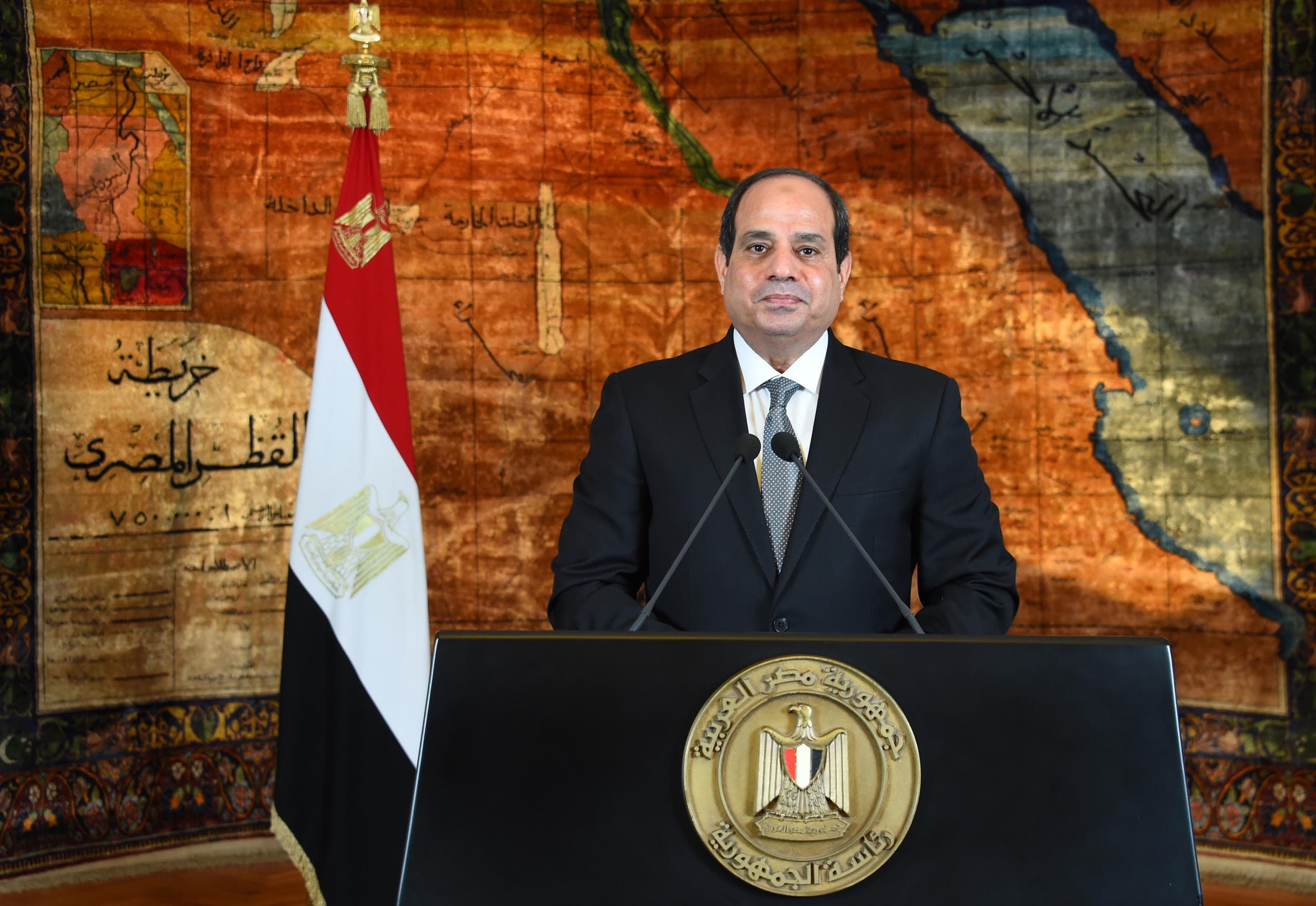 A handout picture released by the Egyptian Presidency on June 30, 2016, shows Egyptian President Abdel Fattah al-Sisi delivering a speech in the capital Cairo.  (AFP)