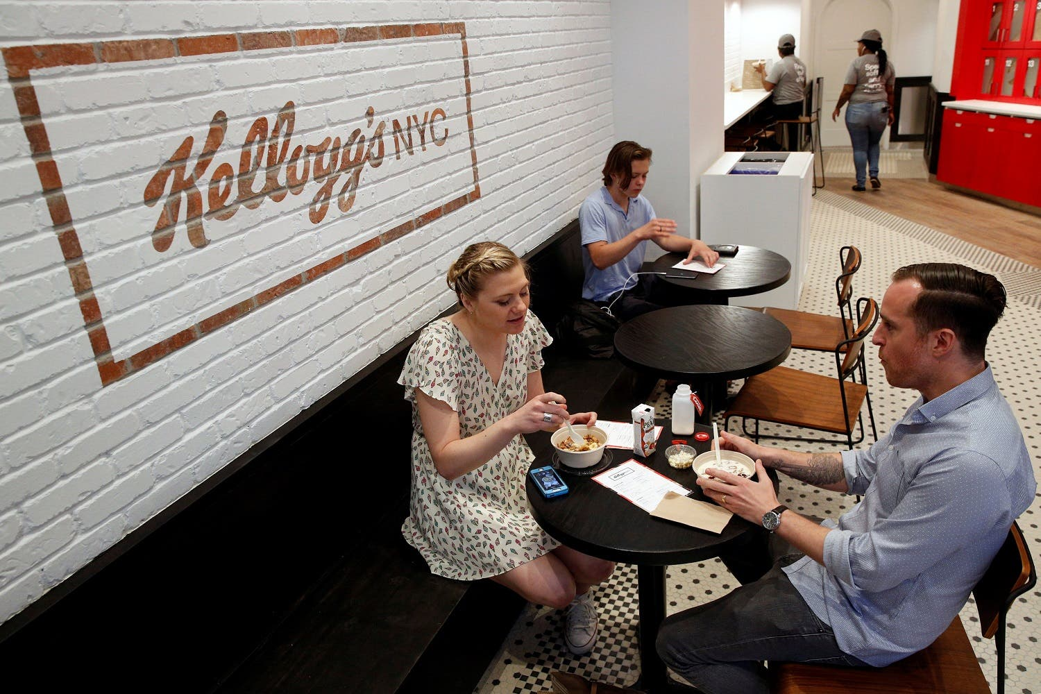 Guests eat cereal at the Kellogg's NYC cafe in Midtown Manhattan in New York City, U.S., June 29, 2016. REUTERS