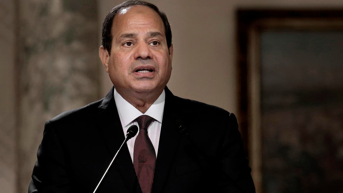 Egyptian President Abdel-Fattah el-Sissi, speaks during a press conference with Hungarian Prime Minister Viktor Orban at the presidential palace in Cairo, Egypt, Wednesday, June 1, 2016. (AP)