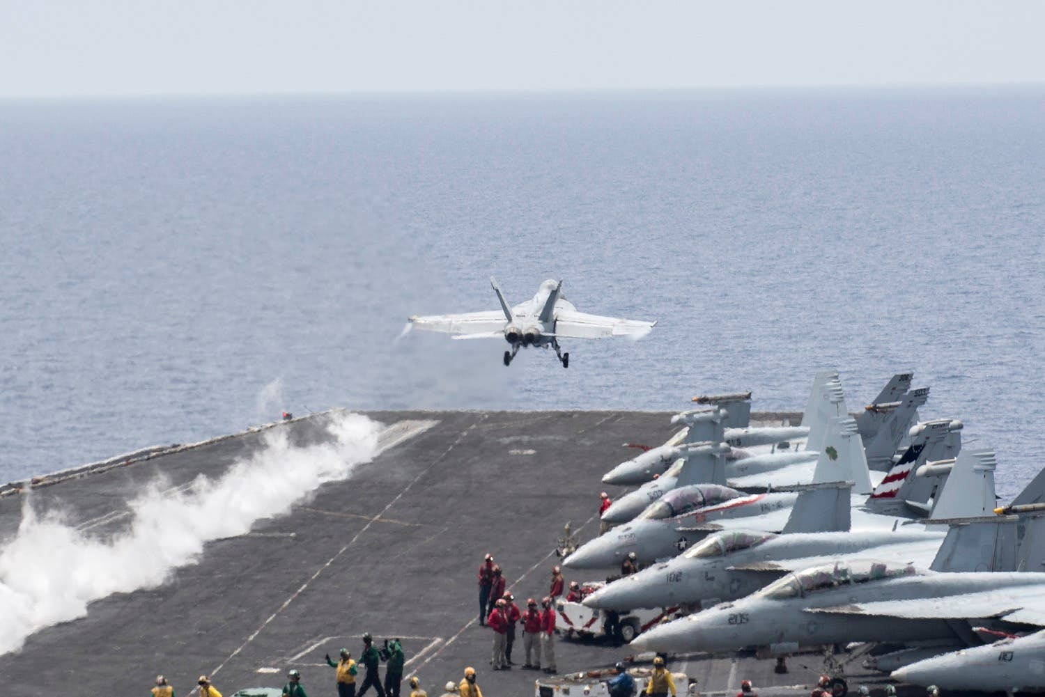 A U.S. Navy F/A-18E Super Hornet fighter jet launches from the flight deck of the aircraft carrier USS Harry S. Truman in the Mediterranean Sea in a photo released by the US Navy June 3, 2016.