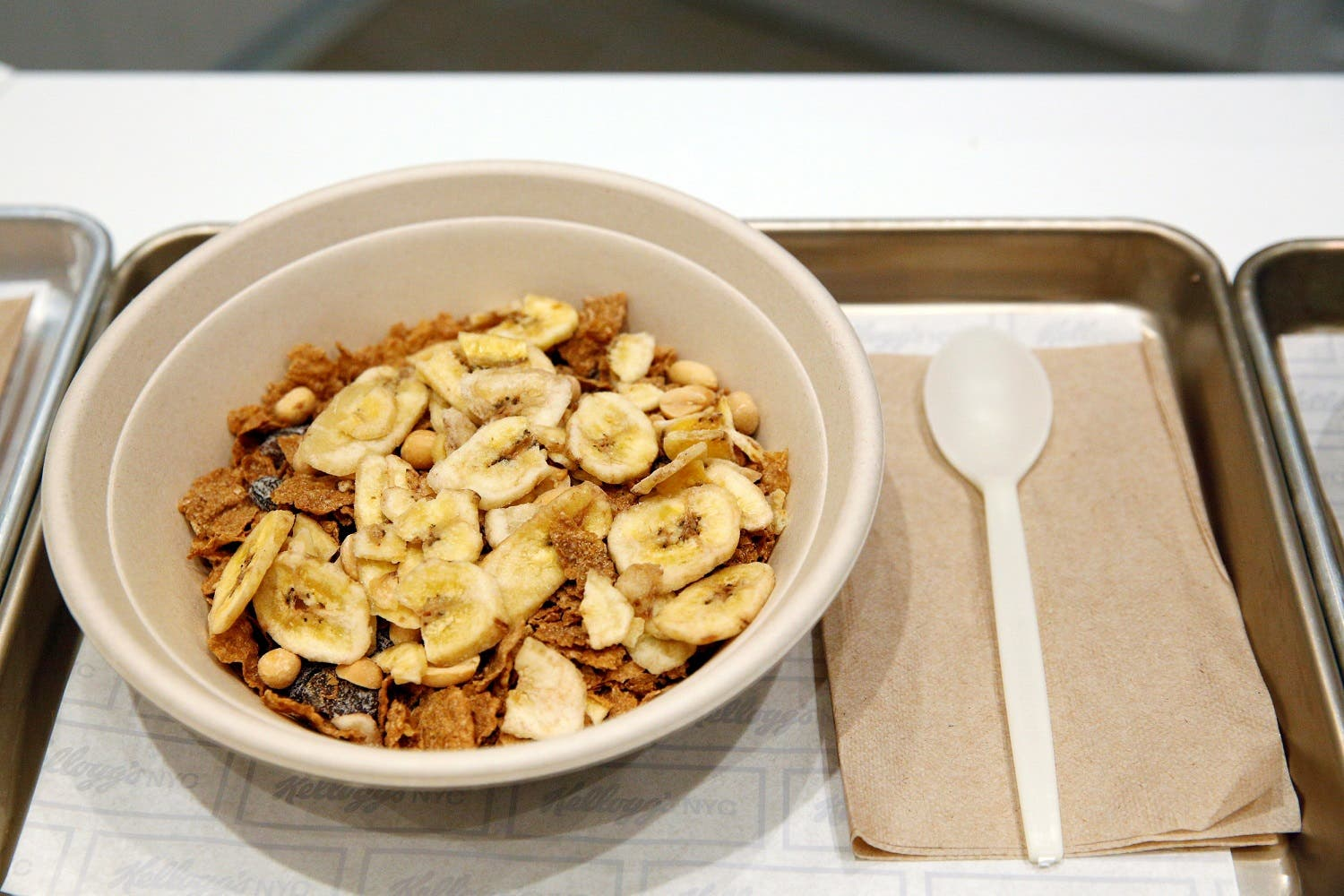 A bowl of 'The Circus' cereal, which is Raisin Bran with toasted peanuts and banana chips, is displayed at the Kellogg's NYC cafe in Midtown Manhattan in New York City, U.S., June 29, 2016. REUTERS