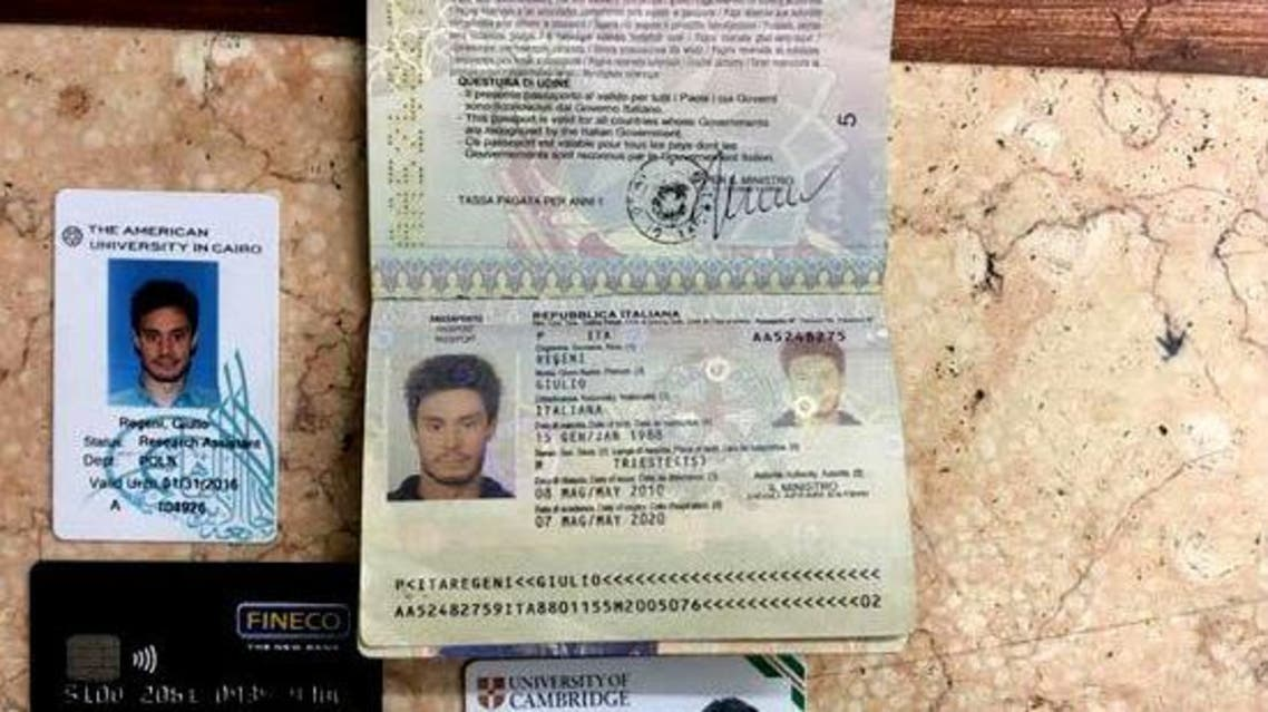 In this file photo released by the Egyptian Ministry of Interior on Thursday, Mar. 24, 2016, personal belongings of slain Italian graduate student Giulio Regeni, including his passport, are displayed. (Reuters)