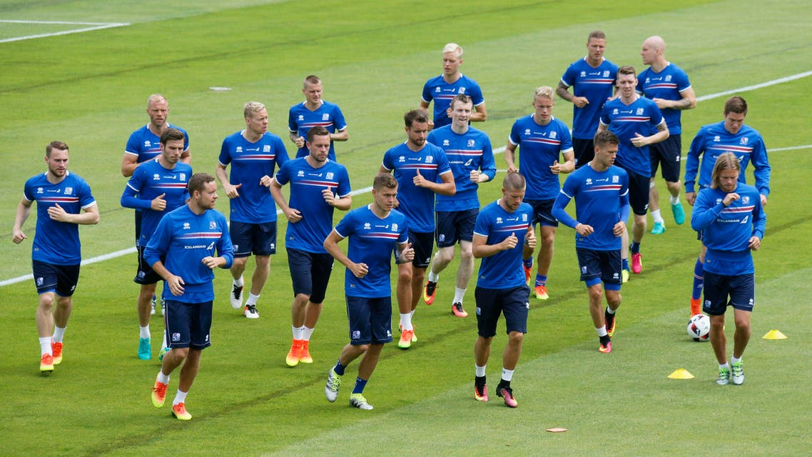 Iceland's team training at the Complexe Sportif d'Albigny in Annecy-le-Vieux, France. (Reuters)