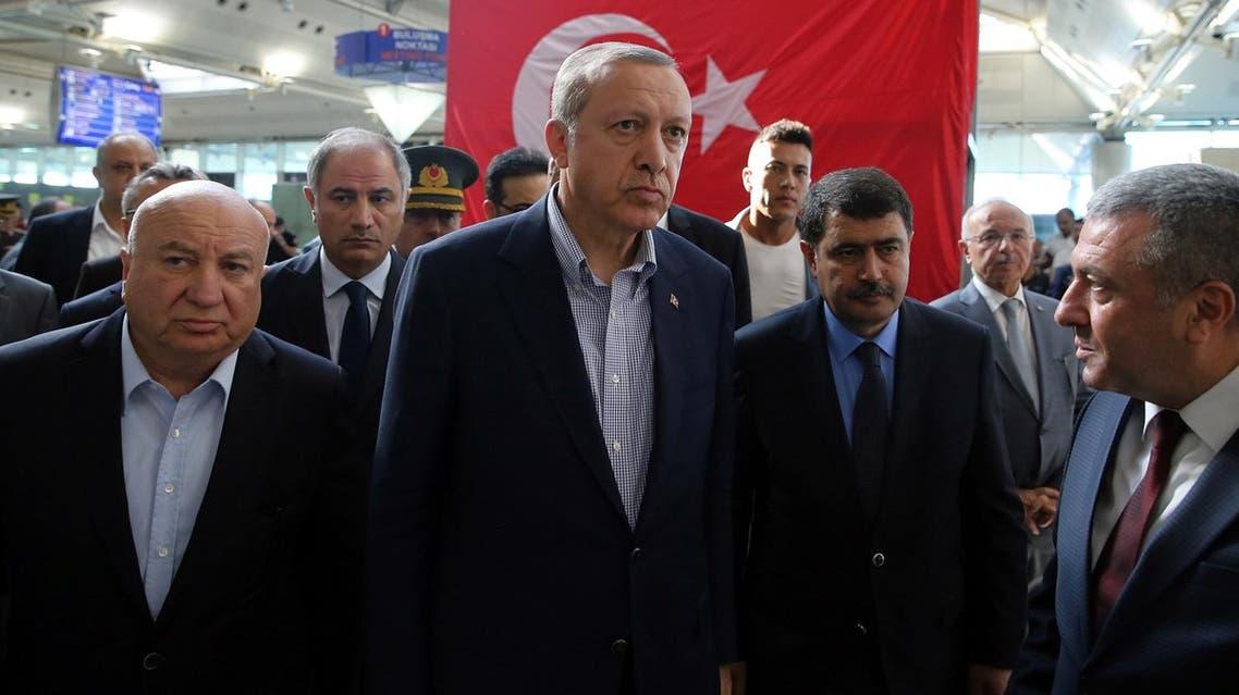 Turkey's President Recep Tayyip Erdogan, center, visits Ataturk Airport in Istanbul, after Tuesday's blasts, Saturday July 2, 2016 (Photo: Kayhan Ozer, Presidential Press Service, Pool via AP)