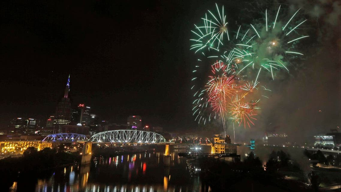 Fourth of July fireworks explode over the Cumberland River Monday, July 4, 2016, in Nashville, Tenn. The Independence Day fireworks display is the largest in the country. (AP)