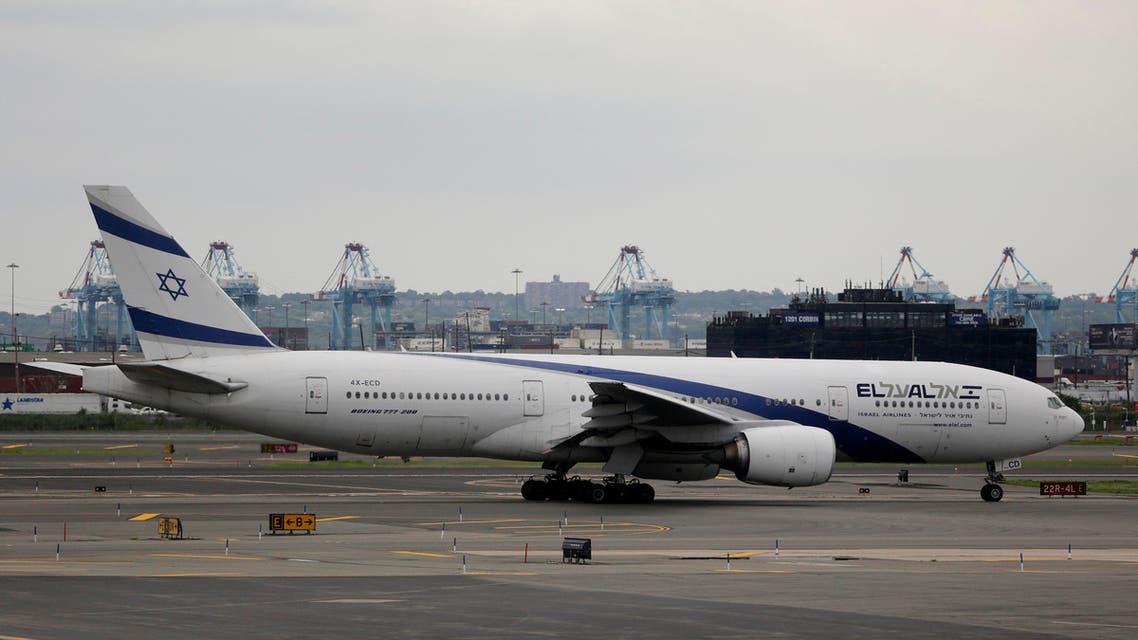 El Al Airlines Flight 28 prepares for takeoff from Newark Liberty International Airport en route to Tel Aviv's Ben Gurion Airport, Thursday, July 24, 2014 AP