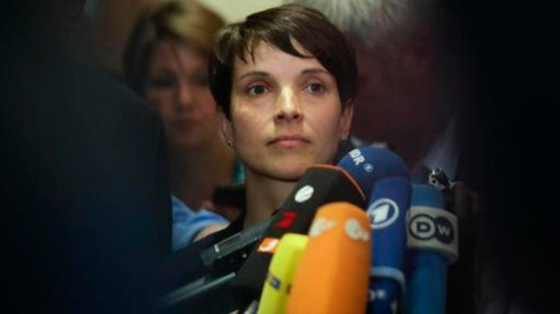 Frauke Petry, chairwoman of the right-wing populist party AfD, Alternative for Germany, attends a joint news conference after a meeting with members of the Central Council of Muslims in Germany, in Berlin, Germany, AP