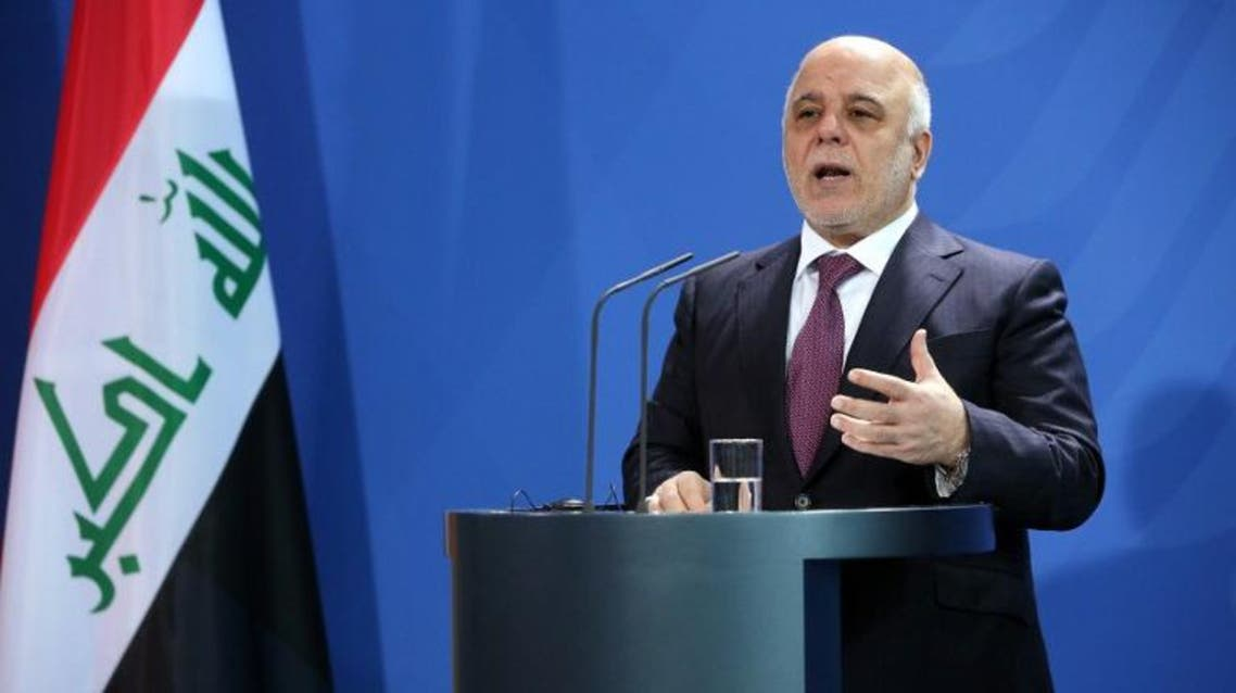 Iraqi Prime Minister Haider al-Abadi speaks at a joint press conference with German Chancellor after their meeting at the Chancellery in Berlin on February 11, 2016. AFP