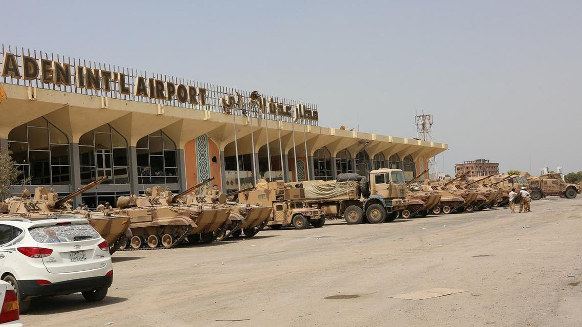 UAE military vehicles are seen at the international airport of the southern port city of Aden, Yemen August 5, 2015. Picture taken August 5, 2015. REUTERS
