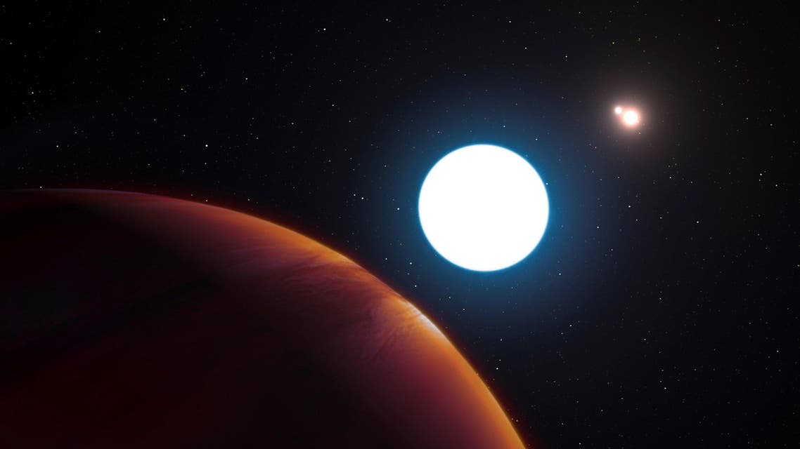 An artist's impression shows a view of the triple star system HD 131399 from close to the giant planet orbiting in the system. REUTERS