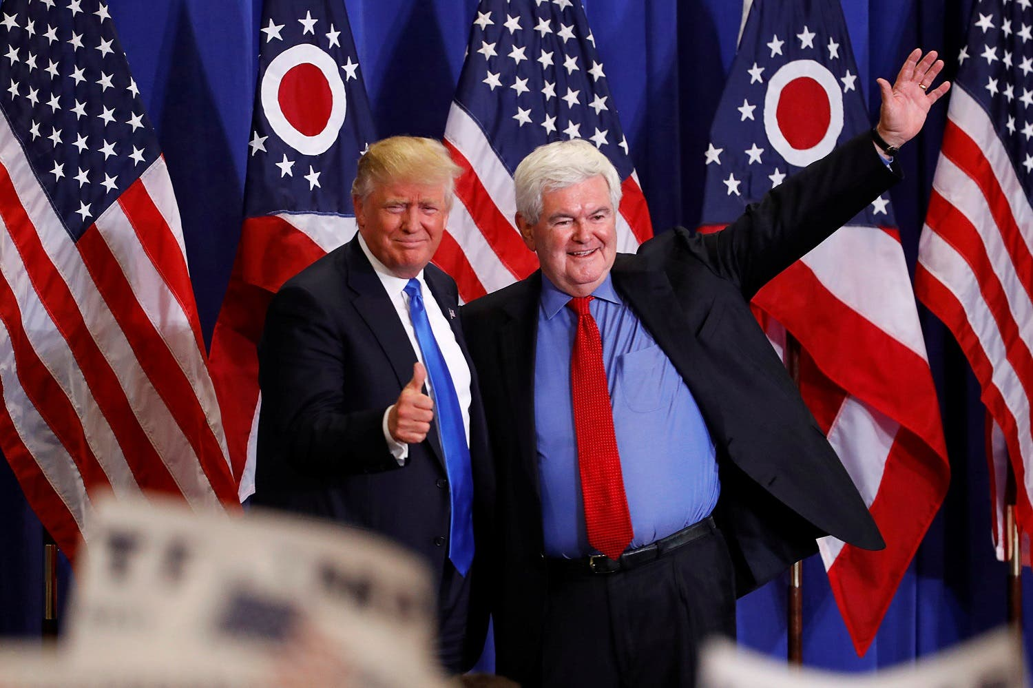Former Speaker of the House Newt Gingrich greets U.S. Republican presidential candidate Donald Trump at a rally at the Sharonville Convention Center in Cincinnati, Ohio July 6, 2016. REUTERS