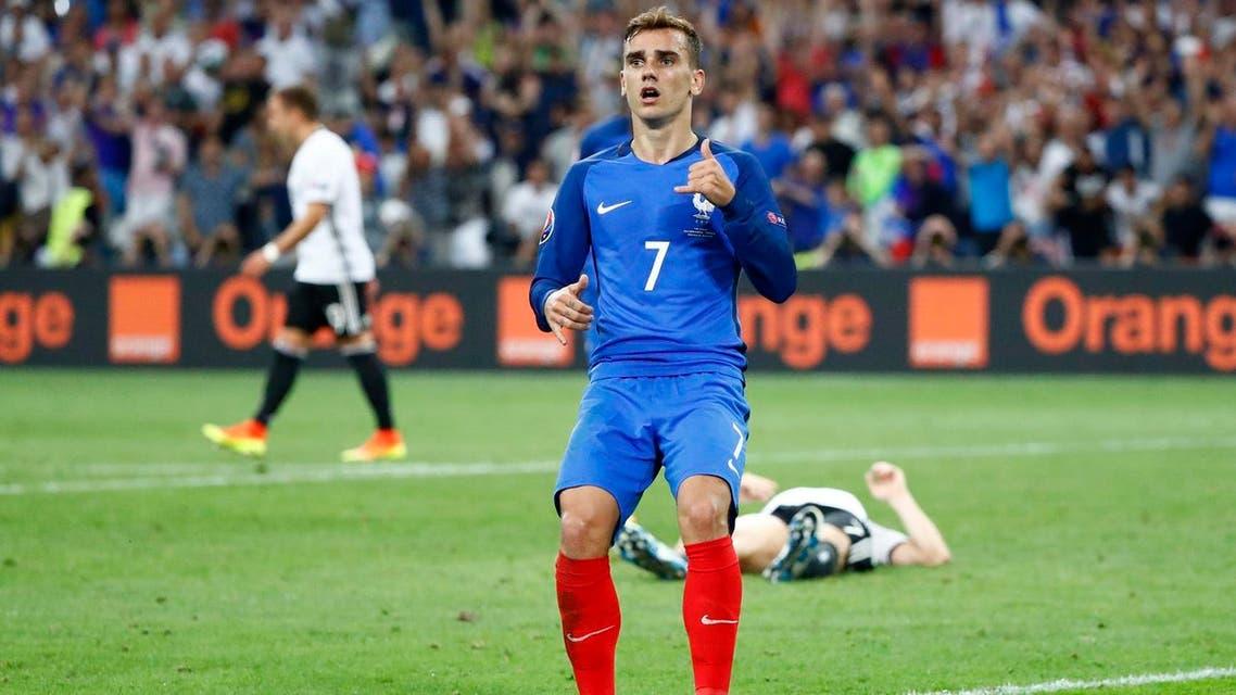 France's Antoine Griezmann celebrates scoring their second goal REUTERS