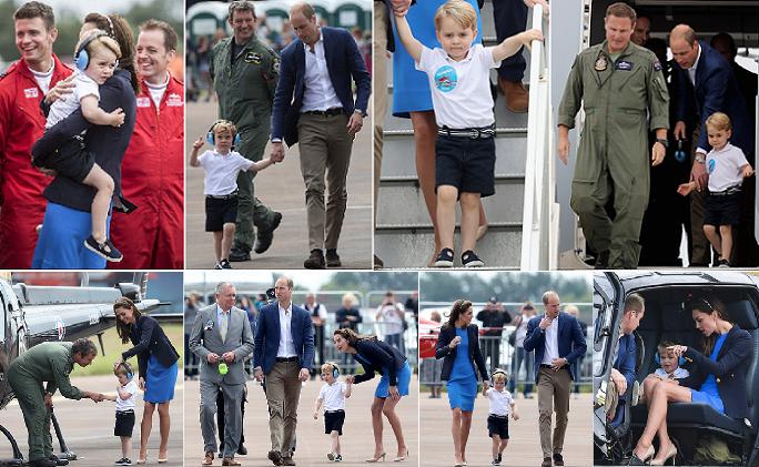 ثماني صور للأمير جورج وهو يتجول مع والديه في القاعدة العسكرية
