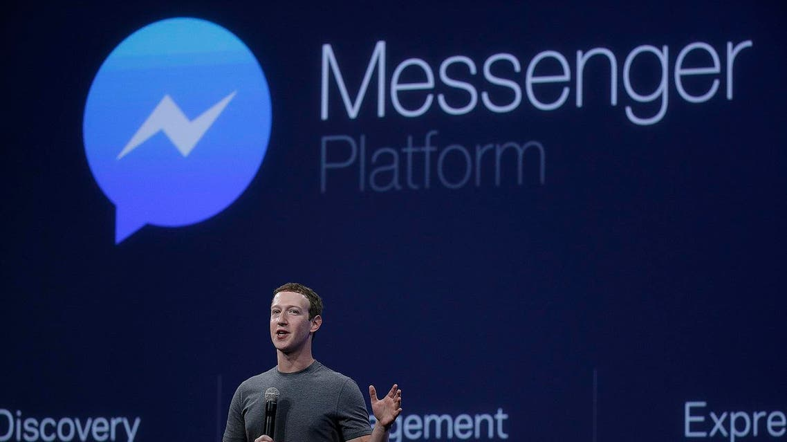 CEO Mark Zuckerberg talks about the Messenger app during the Facebook F8 Developer Conference Wednesday, March 25, 2015, in San Francisco. Facebook is trying to mold its Messenger app into a more versatile communications channel as smartphones create new ways for people to connect with friends and businesses beyond the walls of the company's ubiquitous social network. (AP)