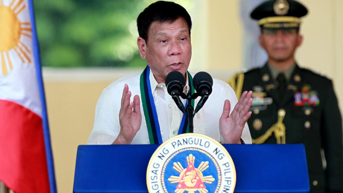New Philippine President Rodrigo Duterte addresses the troops during the Change-of-Command ceremony for incoming Armed Forces chief Gen. Ricardo Visaya Friday, July 1, 2016. (AP)