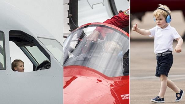 الأمير جورج في طائرة استعراض وأخرى حربية