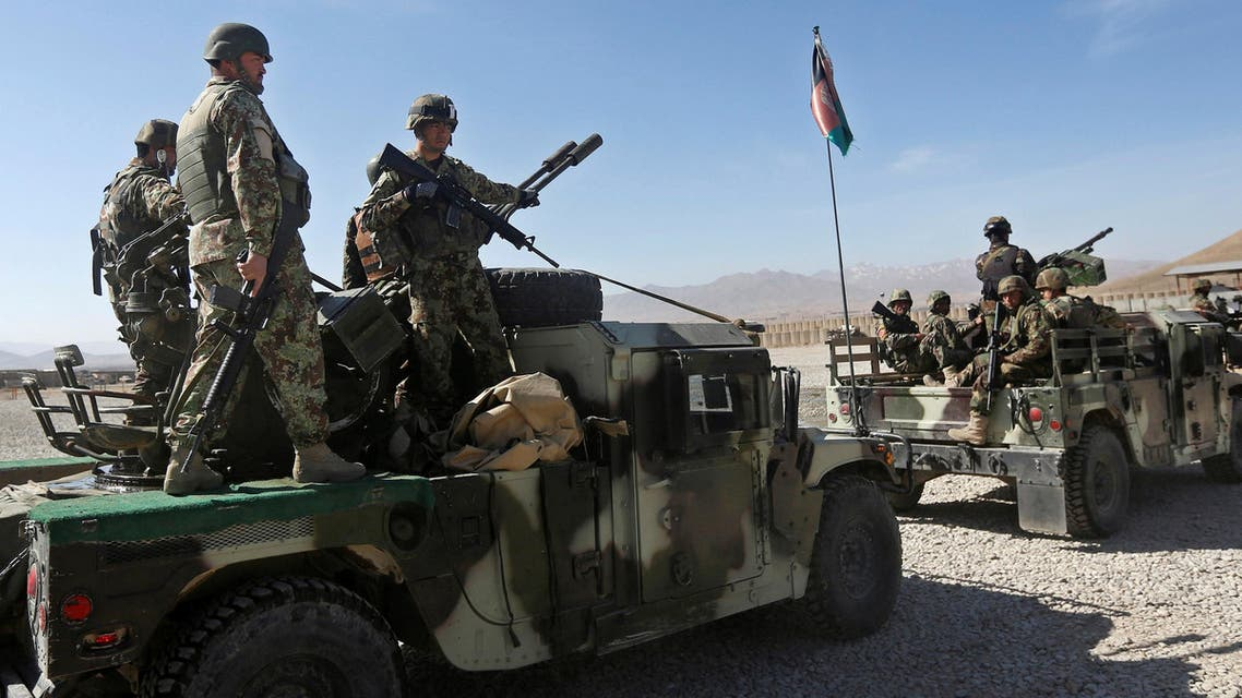Afghan National Army (ANA) soldiers on the back of a Humvee patrol outside their base in Logar province, Afghanistan February 16, 2016. (Reuters)
