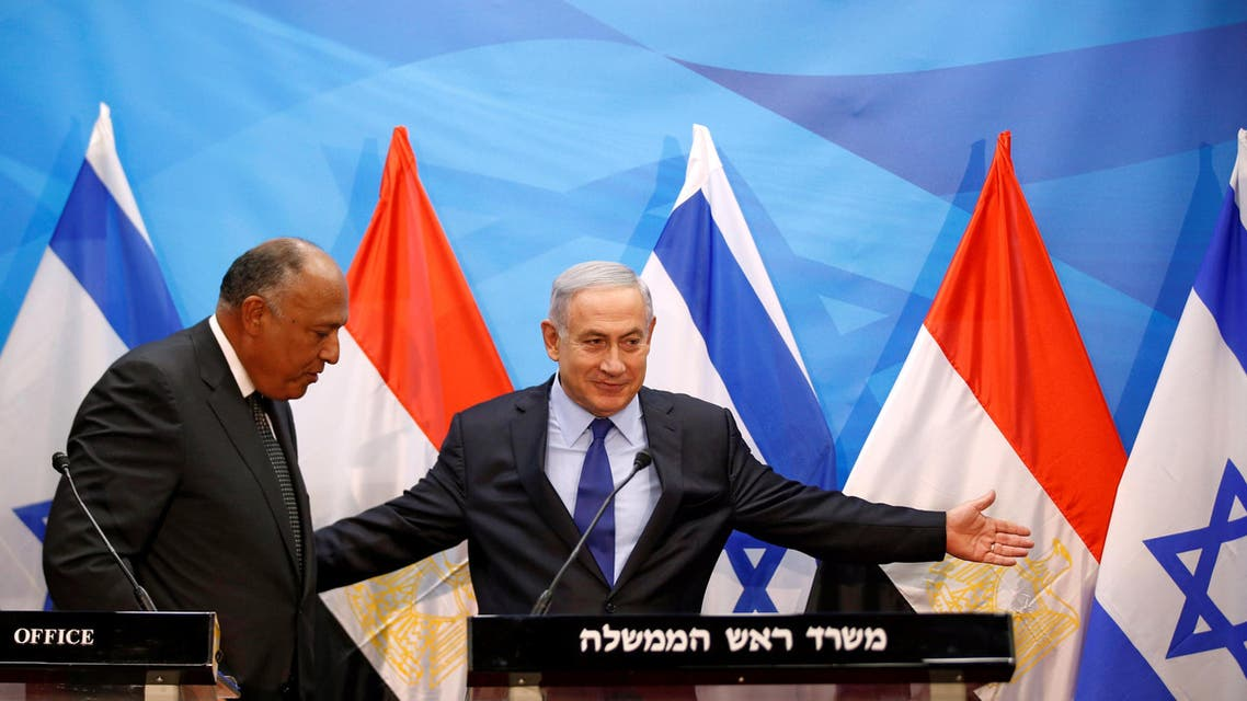 Israeli Prime Minister Benjamin Netanyahu meets Egypt's Foreign Minister Sameh Shoukry in Jerusalem July 10, 2016 REUTERS