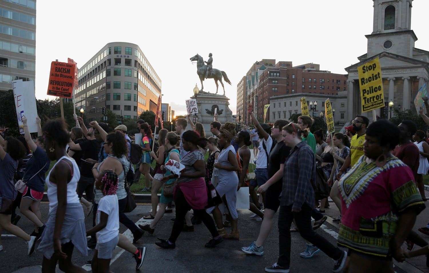 Demonstrators with Black Lives Matter march during a protest in Washington, U.S., July 9, 2016. REUTERS