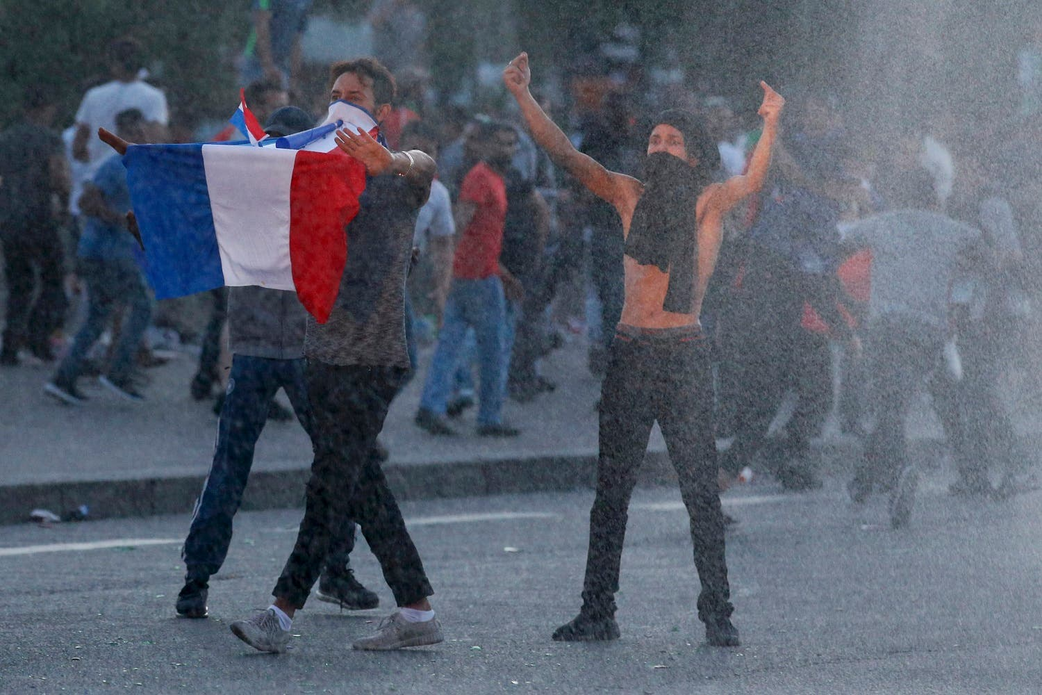 French supporters protest France's loss in the Euro 2016 final match
