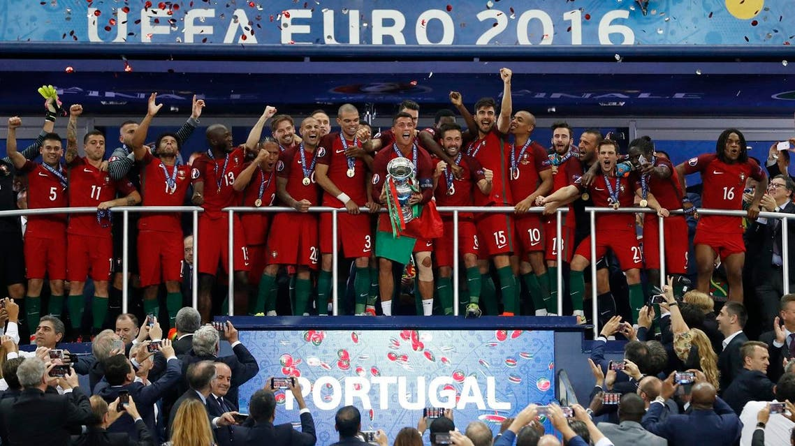 Portugal celebrate with the trophy after winning Euro 2016 REUTERS